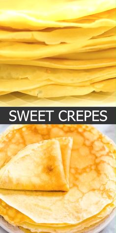 This is a simple, foolproof, and tasty Sweet Crepes recipe. my step-by-step photos or video instructions to make this scrumptious treat at home. These crepes are perfect for breakfast or brunch! Breakfast Recipes, Snack Recipes, Dessert Recipes, Cooking Recipes, Snacks, Desserts, Mexican Breakfast, Pancake Recipes, Waffle Recipes