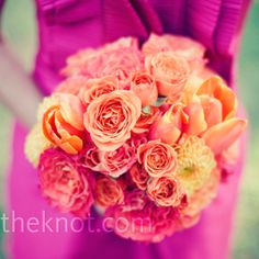 Bridesmaid bouquets of parrot tulips, antique roses and dahlias // Photographer: The Nichols //  Flowers by Fabian // http://www.theknot.com/weddings/album/an-outdoor-wedding-in-austin-tx-85222