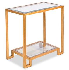 Hutton Hollywood Regency Glass Gold Leaf Side Table. #kathykuohome