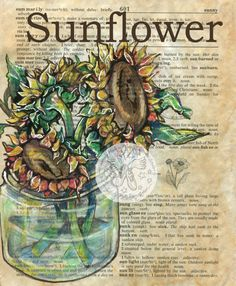 Druck: Sonnenblume-Gemischte Medien Zeichnung auf antike Wörterbuch-Seite