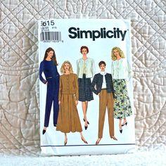 8615 SIMPLICITY Uncut PATTERN 1993 Women Raised Waistline Front Pleated Skirt Tapered Pants Back Zipper Unlined Jacket Size 6 8 10 4-oz