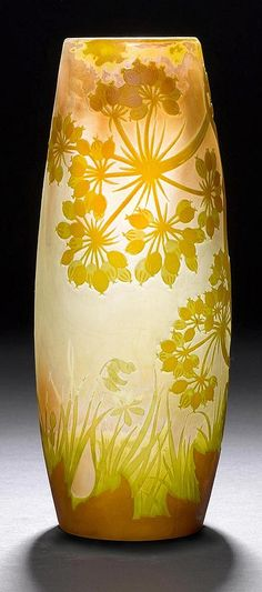 <B>EMILE GALLE</b></i> <br> VASE, ca. 1900 <br> White glass with yellow and green overlay and etching. Signed Gallé. H 31.5 cm.
