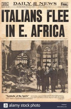 1941 front page Daily News (New York) Italian Army flee in East Africa - FWP647 from Alamy's library of millions of high resolution stock photos, illustrations and vectors.