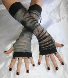 Arm Warmers steampunk  Ripper  rips mesh distress by Mellode