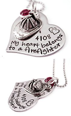 Personalized 'My Heart Belongs To a Firefighter' Hand-Stamped Steel Heart & Helmet Necklace  | Shared by LION