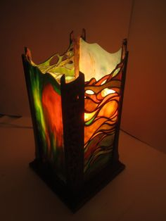 Unique stained glass and wood lantern. by JButlerArt on Etsy