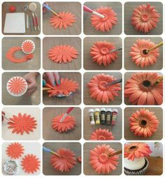 Gerbera Flower Turorial - Step by step - CakesDecor Cake decorating tips and tricks Hello lovely cakers, not sure if this is of any use to any one, as there are already some great ways to make these pretty flowers, but this is the way I like to make my ow Sugar Paste Flowers, Icing Flowers, Fondant Flowers, Paper Flowers, Fondant Bow, Fondant Cakes, Flowers For Cakes, Fondant Toppers, Flower Cakes