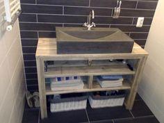 Meuble salle de bain pays bois avec clapet meubles salle de bain pinterest - Badkamer recup ...