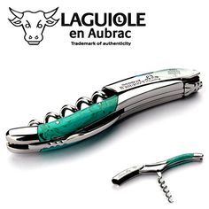 Laguiole en Aubrac corkscrew sommelier waiters knife 3 functions SOM99PTI turquoise handle stainless steel shiny ** Read more reviews of the product by visiting the link on the image.