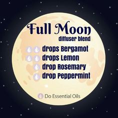 Full moon diffuser blend: bergamot, lemon, peppermint, Rosemary