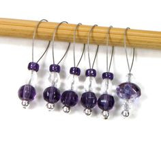 Beaded Knitting Stitch Markers Purple Clear by TJBdesigns on Etsy Knitting Stitches, Knitting Patterns, Etsy Jewelry, Handmade Jewelry, Knitting Supplies, Stitch Markers, Wind Chimes, Craft Supplies, Knit Crochet