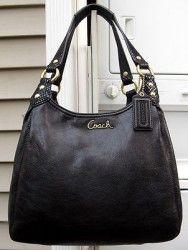 NEW AUTH Coach Ashley Black Leather : Embossed Python Hobo Handbag 21926 $358