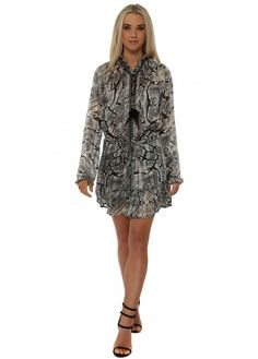 JUST M PARIS Grey Snakeskin Print Chiffon Ruffle Mini Dress
