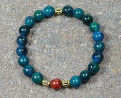 Beaded Stretch Bracelet Dark Green Quartzite Red by CoralsJewelry
