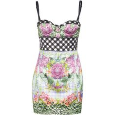 JUST CAVALLI Tropical Check Multi Patterned bustier dress (26.370 RUB) ❤ liked on Polyvore featuring dresses, vestidos, short dresses, mini dress, sexy summer dresses, sexy short dresses, stretch mini dress and summer mini dresses
