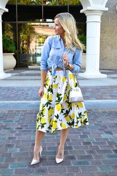 Stop Traffic in This Lemon Print Skirt