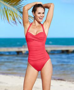 a2043f9f83 La Blanca Ruched Over the Shoulder One-Piece Swimsuit Swimwear Fashion