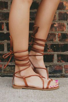 Camel strappy lace up leather sandal