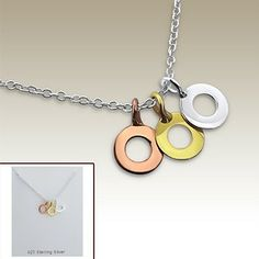 Silver necklace with circle pendants and display card - 17069