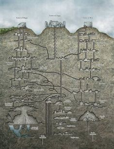 Wilderness Ruins tower of magic tower of Zagig tower of war Underdark Entrance dungeon Fantasy City, Fantasy Places, Fantasy Map, Fantasy World, Rpg Map, Dungeon Maps, Dungeons And Dragons Homebrew, Ancient Aliens, Ancient History
