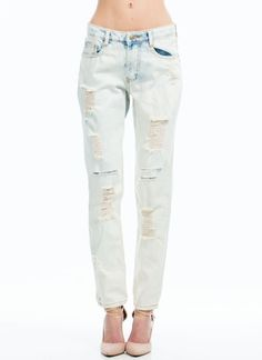 Bleached Out Destructed Jeans