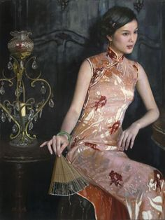 Lady with Sandalwood Fan- oil on canvas, 2012 | The World of Mortals · Dreamland by Chen Yiming | Sotheby's