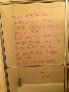 My 12 year old son needs tween guidance. Just a little note to him about hygiene.