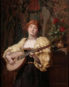 Comte, Pierre Charles (1823-1895) - The Pretty Mandolinplayer