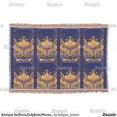 Antique Vessel,Dolphins,Waves Gold,Navy Blue Throw Blanket #nautical #travel #sea #sailboat #seagulls #homedecor