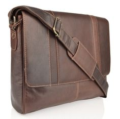 Burnish Leather Landscape Messenger Bag - This Burnish Leather Landscape Messenger Bag has been made from a high grade of buffalo leather. The leather used is an aged leather also known as Burnish. Timeless in style, colour and will age beautifully with use. The main front flap fastens with two concealed magnetic poppers which open to a loose compartment with a stud fastener perfect for holding important documents. The main compartment is separated into two with a central zip pocket.