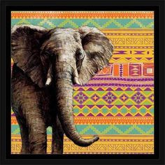 Tribal Elephant Colorful Safari Vector Pattern Illustration Yellow & Purple, Framed Canvas Art by Pied Piper Creative