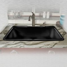 Miseno Miseno Miseno Single Basin Drop In Cast Iron Kitchen Sink Black Fixture Kitchen Sink Cast Iron. Cast Iron Kitchen Sinks, Steel Kitchen Sink, Single Bowl Kitchen Sink, Stainless Steel Kitchen, Rustic Kitchen Cabinets, Farmhouse Sink Kitchen, New Kitchen, Kitchen Modern, Kitchen Ideas