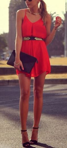 I am in looooooove with this red dress/gold belt combo.