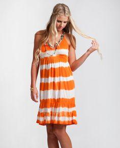 RIP CURL SAND STORM DRESS....   Stripe tie dye dress with double ruffle hem. 100% rayon slub jersey. At www.hobiesurfshop.com #hobie #surf #shop #RipCurl #bikini #coverup #stripes