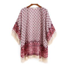 SheIn(sheinside) Red Tribal Print Tassel Loose Kimono (125 HRK) ❤ liked on Polyvore featuring intimates, robes, cardigans, jackets, kimono, red, loose kimono, tribal print kimono, red robe and tassel kimono