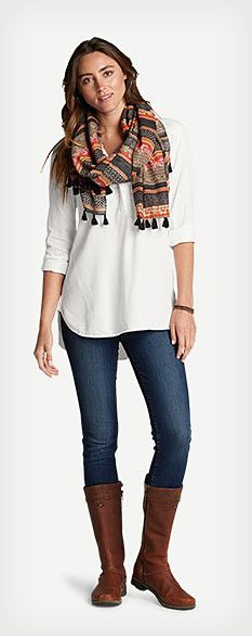 Wos casual fall outfit featuring Tranquil Popover Top With Embroidery, Elysian Slim Straight Jeans - Slightly Curvy, Sitka Woven Oblong Scarf and Eddie Bauer Trace Boot. Casual Fall Outfits, Cute Outfits, Office Outfits, Jeans Wedding, Wedding Boots, Short Mini Dress, Autumn Fashion, Clothes For Women, Fall Clothes