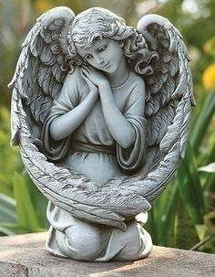 Angel Kneeling Bird Feeder Sculpture Sweet Face Angelic