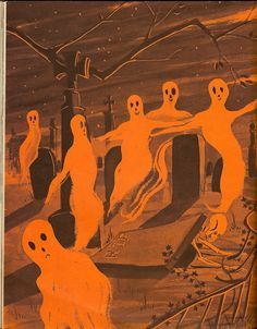 Ghosts on parade. Illustration from vintage Halloween book. - Ghosts on parade. Illustration from vintage Halloween book. Retro Halloween, Spooky Halloween, Vintage Halloween Cards, Vintage Halloween Decorations, Halloween Books, Spooky Scary, Halloween Pictures, Happy Halloween, Creepy