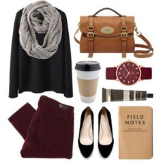 Black sweater, burgundy jeans, black flats, gray scarf