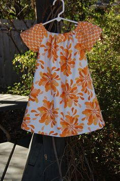 Girls handmade dress / clothing  / toddler dress / childrens peasant dress in Sandi Henderson's beautiful Farmers Market Fabric. $29.00, via Etsy.