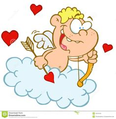 Cute Cupid With Bow And Arrow Flying In Cloud Royalty Free Stock ...