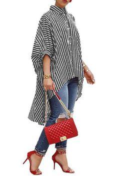 Half Sleeve Striped Chiffon Blouse Women Summer Tops Button Up Shirts Short Front Long Back Asymmetrical Shirt Denim Blouse, Blouse Outfit, Shirt Blouses, Black Blouse, Dress Shirt, Striped Long Sleeve Shirt, Lady, Shirt Sleeves, Blouses For Women