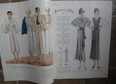 McCall Fashion Book, Mid-Summer 1933 featuring McCall 7345 and 7378 on the left page, 7417 and 7418 on the right page