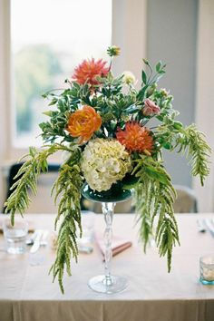 To see more fabulous details about this wedding: http://www.modwedding.com/2014/11/22/charming-outdoor-wedding-alexandra-knight-photography/ #wedding #weddings #wedding_centerpiece