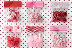 Idea from @Amy Atlas: Fill cellophane pouches with candy, then fold cloth or paper over the top and secure with glue dots or staples. Tack the treats to a bulletin board so guests can help themselves.