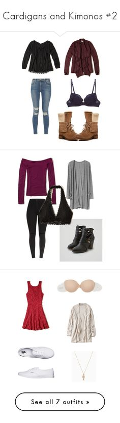 """""""Cardigans and Kimonos #2"""" by that-girl-j ❤ liked on Polyvore featuring Hollister Co., La Perla, Frame, UGG, American Eagle Outfitters, Fashion Forms, Vans, Levi's, maurices and John Lewis"""