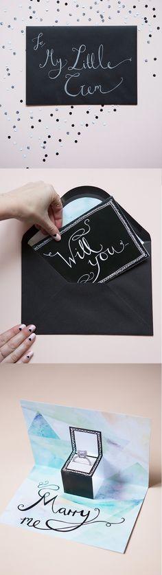 Cute engagement proposal ideas!  http://www.weddingchicks.com/2015/02/08/little-gems-proposal-card/