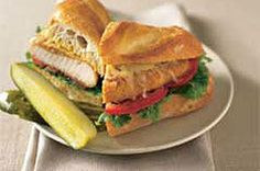 SHAKE 'N BAKE Chicken Coating Mix gives this chicken sandwich its crispy appeal.