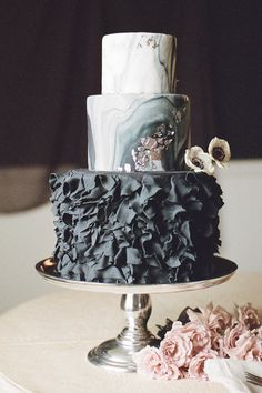 White Wedding Cakes black ruffled wedding cake - Moody romantic workshop shoot by Jess Watson Photography in Virginia. The bride has stunning lace detailed veil and pear shaped sapphire ring Gorgeous Cakes, Pretty Cakes, Amazing Cakes, Unique Wedding Cakes, Wedding Cake Designs, Black Wedding Cakes, Marble Cake, Marble Pillar, Wedding Cake Inspiration