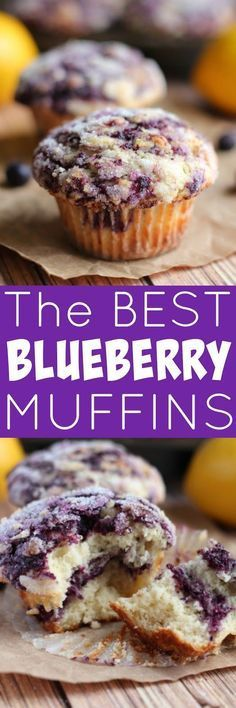 THE BEST BLUEBERRY MUFFINS EVER - They're swirled with blueberry jam and topped with lemon sugar.